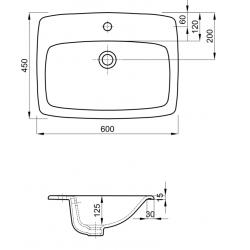 Umywalka Wpuszczana W Blat Nova Pro 60 Cm Z Otworem Z Przelewem Koło