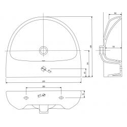 Umywalka Owalna Nova Pro 60 Cm Z Otworem Z Przelewem Koło
